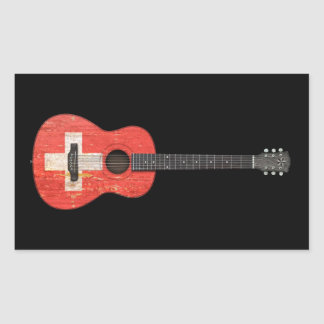 Aged and Worn Swiss Flag Acoustic Guitar, black Rectangular Stickers