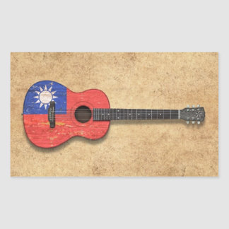Aged and Worn Taiwanese Flag Acoustic Guitar Rectangular Sticker