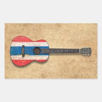 Aged and Worn Thai Flag Acoustic Guitar Rectangular Sticker