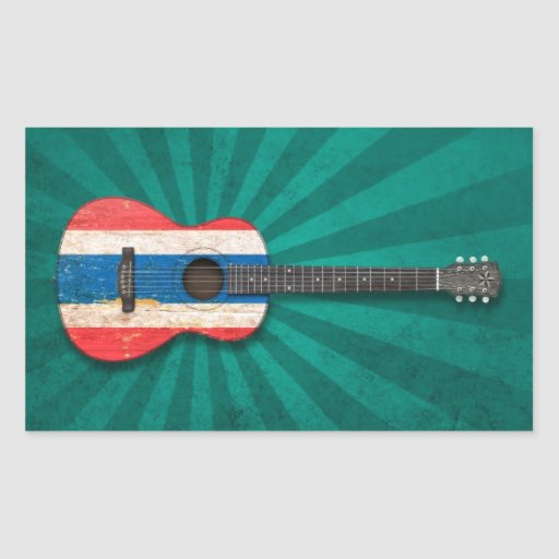 Aged and Worn Thai Flag Acoustic Guitar, teal Rectangular Stickers