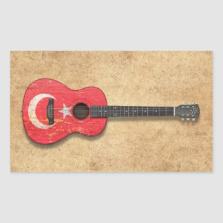 Aged and Worn Turkish Flag Acoustic Guitar Rectangle Stickers
