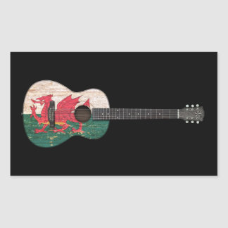 Aged and Worn Welsh Flag Acoustic Guitar, black Rectangular Sticker