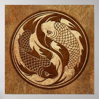 Aged and Worn Yin Yang Koi Fish Print