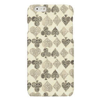 Aged Antiqued Beige Damask Card Suit Heart Diamond