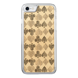 Aged Antiqued Beige Damask Card Suit Heart Diamond Carved iPhone 7 Case