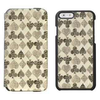 Aged Antiqued Beige Damask Card Suit Heart Diamond Incipio Watson™ iPhone 6 Wallet Case