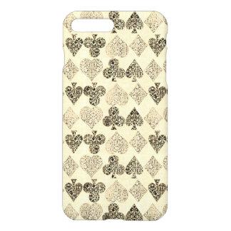 Aged Antiqued Beige Damask Card Suit Heart Diamond iPhone 8 Plus/7 Plus Case
