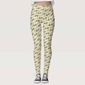 Aged Antiqued Beige Damask Card Suit Heart Diamond Leggings