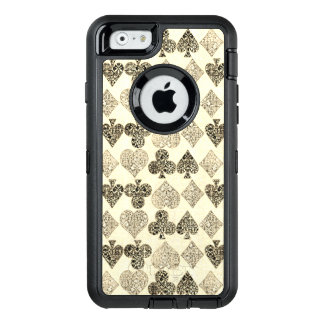 Aged Antiqued Beige Damask Card Suit Heart Diamond OtterBox Defender iPhone Case
