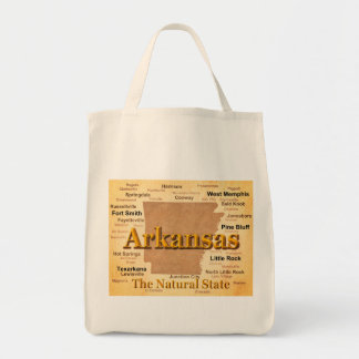 Aged Arkansas State Pride Map Canvas Bags