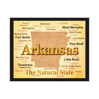 Aged Arkansas State Pride Map Gallery Wrap Canvas