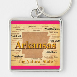Aged Arkansas State Pride Map Key Chain