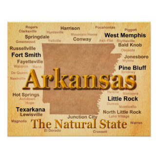 Aged Arkansas State Pride Map Posters