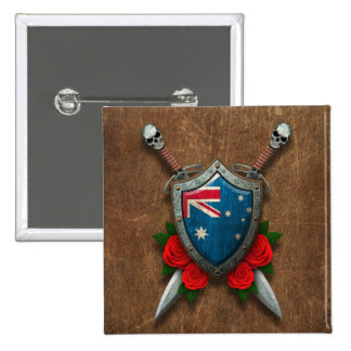 Aged Australian Flag Shield and Swords with Roses Pinback Button
