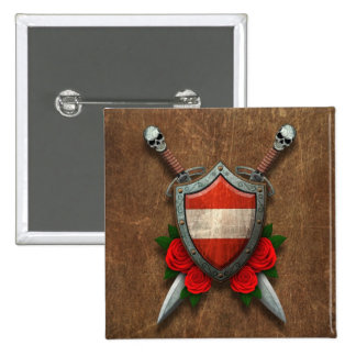 Aged Austrian Flag Shield and Swords with Roses Pin