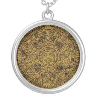 Aged Aztec Mayan Sun Stone Calendar Round Pendant Necklace