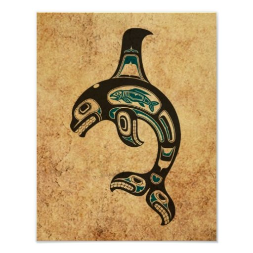 Aged Blue and Black Haida Spirit Killer Whale Poster