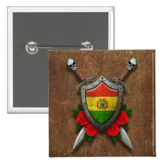 Aged Bolivian Flag Shield with Red Roses Pinback Button