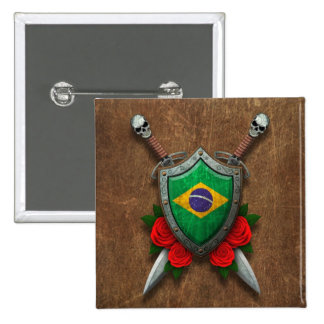 Aged Brazilian Flag Shield and Swords with Roses Button
