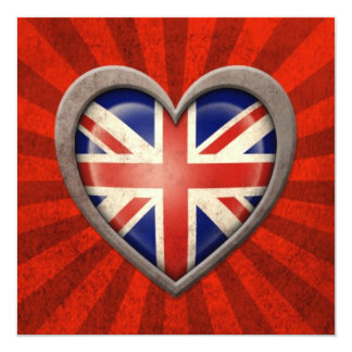 Aged British Flag Heart with Light Rays 13 Cm X 13 Cm Square Invitation Card