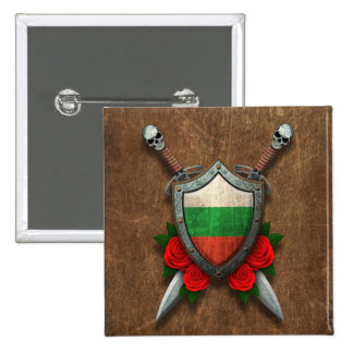 Aged Bulgarian Flag Shield and Swords with Roses Pin