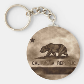Aged California Flag Basic Round Button Key Ring