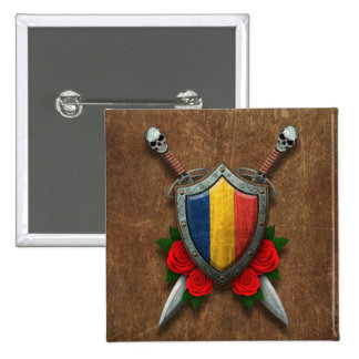 Aged Chad Flag Shield and Swords with Roses Pinback Button