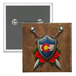 Aged Colorado Flag Shield and Swords with Roses Pinback Button