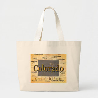 Aged Colorado State Pride Map Silhouette Canvas Bag