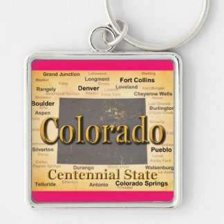 Aged Colorado State Pride Map Silhouette Keychain