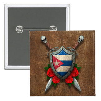 Aged Cuban Flag Shield and Swords with Roses Pinback Buttons