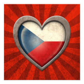 Aged Czech Republic Flag Heart with Light Rays Announcements