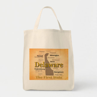 Aged Delaware State Pride Map Canvas Bag