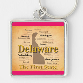 Aged Delaware State Pride Map Key Chain