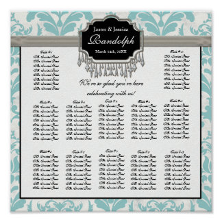 Aged Distressed Damask Reception Seating Chart Poster
