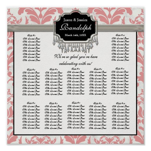 Aged Distressed Damask Reception Seating Chart Print