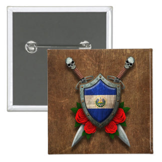 Aged El Salvador Flag Shield and Swords with Roses Button