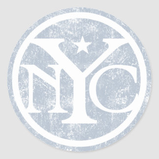 Aged Faded NYC Round Stickers