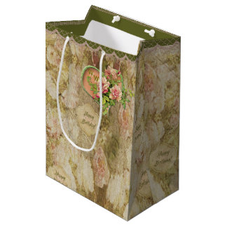 Aged Faded Victorian Rose - Birthday - Personalize Medium Gift Bag