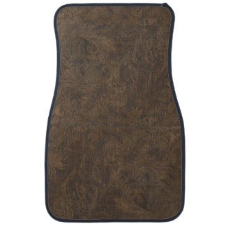 Aged Faux Tooled Leather Western-style Design 2 Car Mat