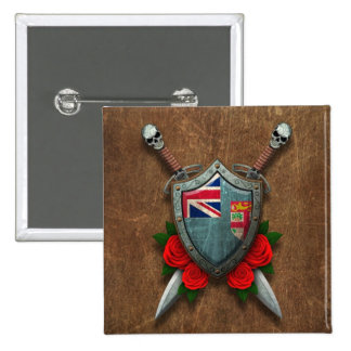 Aged Fiji Flag Shield and Swords with Roses Button