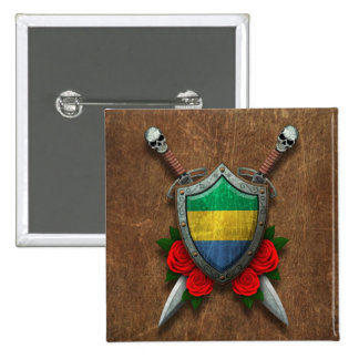 Aged Gabon Flag Shield and Swords with Roses Pins
