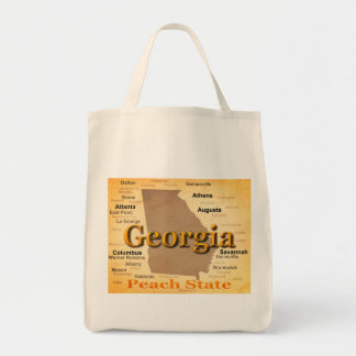 Aged Georgia State Pride Map Silhouette Canvas Bag