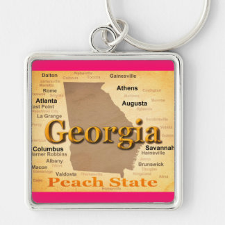 Aged Georgia State Pride Map Silhouette Key Chains
