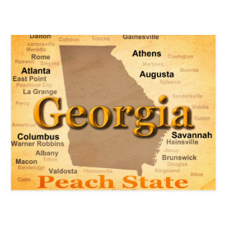 Aged Georgia State Pride Map Silhouette Postcard