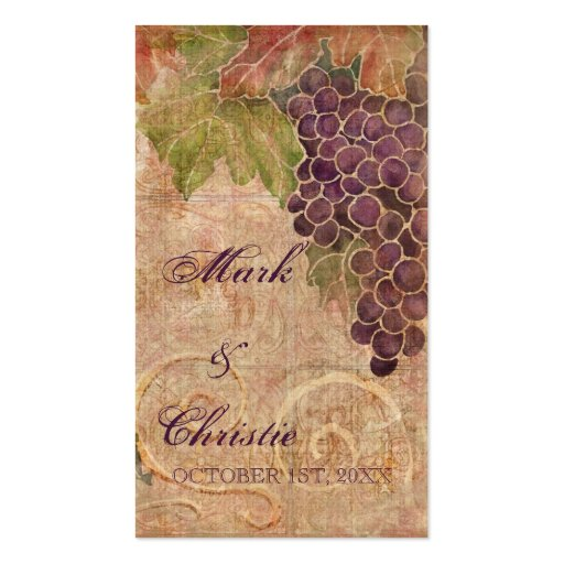 Aged Grape Vineyard Wedding Favor Gift Cards Business Card Templates