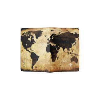 aged grunge world map, travel passport holder