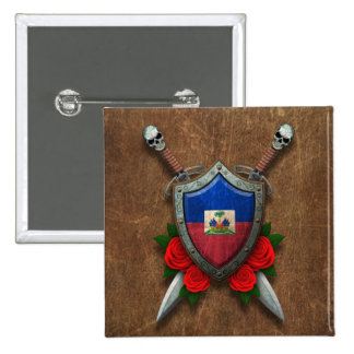 Aged Haitian Flag Shield and Swords with Roses Pinback Buttons