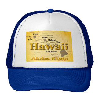 Aged Hawaii State Pride Map Silhouette Hat