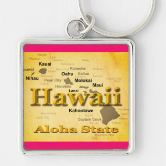 Aged Hawaii State Pride Map Silhouette Keychains